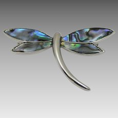 Vintage Silver Tone Dragonfly Pin With Abalone Wings Signed