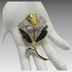 Vintage Enamelled Flower Pin in Green Yellow and Goldtone With Pave Crystals