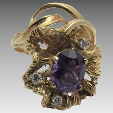 14 Karat  Yellow Gold Custom Oval Amethyst Ring With Diamond Accents