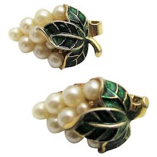 Vintage Crown Trifari Clip On Earrings With Faux Pearls and Green Enamelling In Grape Cluster Design