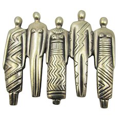 Vintage Laurel Burch Tribal Pin in Silver Tone