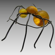 Primitive Amber Spider Pin