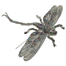 Vintage Bejeweled Jointed Dragonfly Pin with Swinging Tail