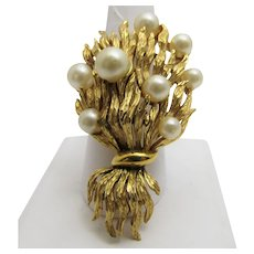 Vintage Crown Trifari Brushed Goldtone Pin With Faux Pearls in Organic Form
