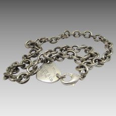 "Tiffany Sterling Silver Necklace With Heart Engraved ""Please Return to Tiffany's, NY 925"