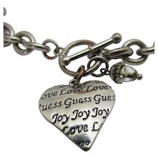 Vintage Guess Silver Tone Toggle Necklace With Heart Signed Guess, Love, Joy