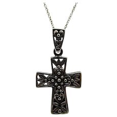 Sterling  Silver Cross Pendant on Fine Sterling Chain