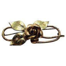 Vintage Pin Signed Diana in Rose and Goldtone in Floral Design