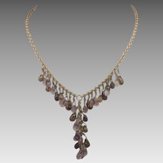 Vintage Napier Goldtone Necklace With a Variety of Pastel Crystal Drops