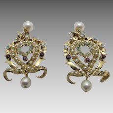 14 Karat Yellow Gold Victorian Revival Pierced Earrings With Incredible Seed Pearl, Opal, Garnet Accents