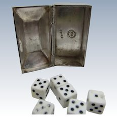 Sterling Silver Taxco Designer Onyx Hinged Box With Six Dice Inside