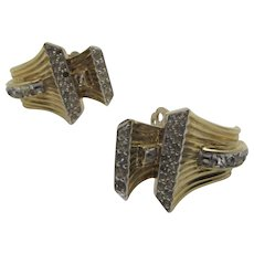 Vintage Jomaz Goldtone Clip On Earrings With Clear Crystal Accents