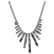 Vintage Weiss Deco Style Clear Crystal Necklace
