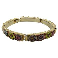 Vintage Art Glass Bracelet With Intricate Decoration