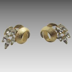 Vintage Crown Trifari Goldtone Clip On Earrings With Marquis Crystal Accents