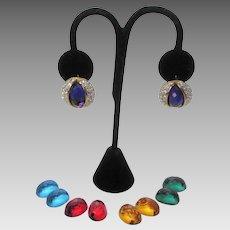 Vintage Joan Rivers Changeable Goldtone Pierced Earrings With Interchangeable Lucite Gems