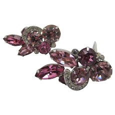 Vintage Eisenberg Clip On Earrings With Multiple Shades of Pink Crystals