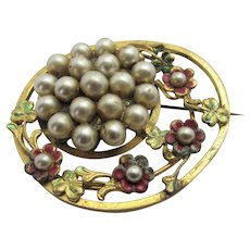 Vintage 1930's Goldtone Pin With Faux Pearls and Enamelling in Floral Theme