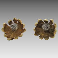 Vintage Kramer Brushed Goldtone Clip On Floral Style Earrings With Clear Crystal Centers