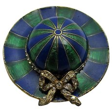 Vintage Ciner Enamelled Hat Pin With Crystal Bow Accent In Blue and Green