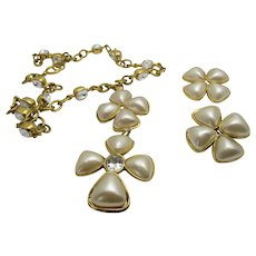 Chanel Crystal Enhanced Necklace With Faux Pearl Drop and Matching Earrings