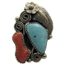 Sterling Silver Native American Coral and Turquoise Ring In Ornate  Design