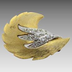 Vintage JJ Brushed Goldtone Pin With Pave Crystals