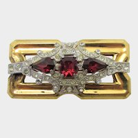 Vintage McClelland Barklay 1940's Goldtone Pin With Faux Ruby Crystals and Clear Crystal Accents