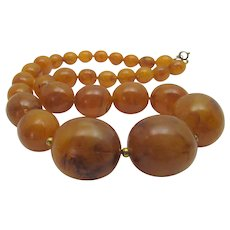 Vintage Marbled Lucite Beads With Look of Amber Necklace