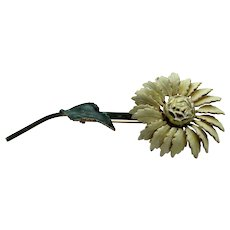 Vintage Sandor Enamelled Flower Pin in White and Green