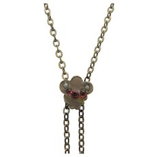 Vintage Gold Filled Watch Chain With Slide Faux Ruby and Faux Pearl Accents