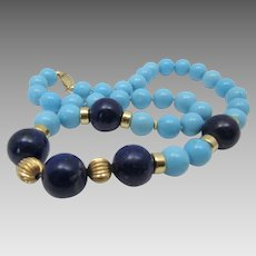 14 Karat Gold Turquoise and Lapis Lazuli Necklace