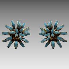 Vintage Mid Century Faux Turquoise Enamelled Clip On Flower Earrings
