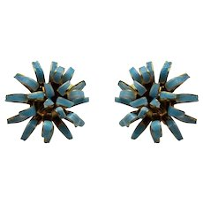 Vintage Mid Century Faux Turquoise Enamelled Clip On Flower Earrings