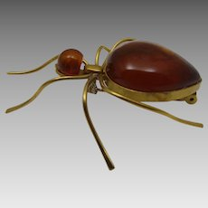 800 Silver Vermeil Bug Pin With Amber Body and Head