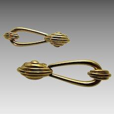 Vintage Signed Door Knocker Clip On Earrings in Goldtone