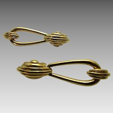 Vintage Signed Door Knocker Clip On Earrings in Goldtone