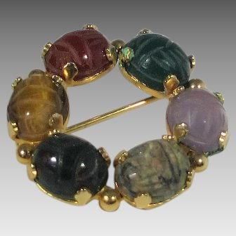 Vintage Designer Signed Gold Filled Scarab Circle Pin