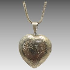Sterling Silver Heart Locket on  Sterling Silver Chain Necklace