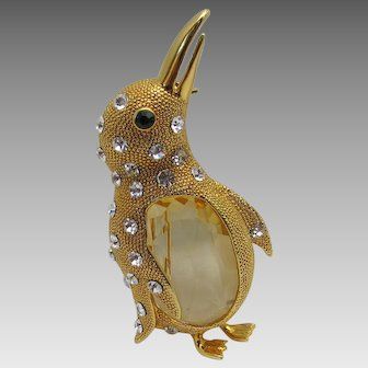 Vintage Goldtone Penguin Pin With Lucite Belly and Crystals Accents