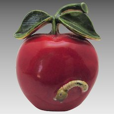 Vintage Original by Robert Red Enamelled Apple Pin Complete with Stem and Worm