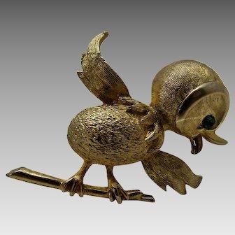 Vintage Goldtone Tweety Bird With Green Crystal Eye