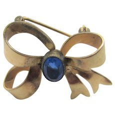 Vintage Gold Filled Bow Pin With Blue Crystal Accent