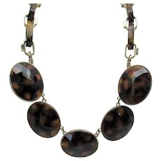 Vintage Anne Taylor Statement Necklace in Faux Tortoise