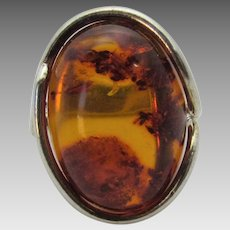 Sterling Silver Amber Ring in Free Abstract Form