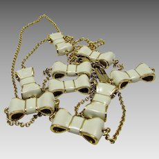 Vintage Kate Spade Necklace of White Enamelled Bows