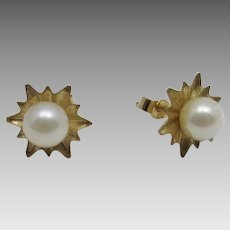Petite Cultured Pearl Earrings in  14 Karat Yellow Gold