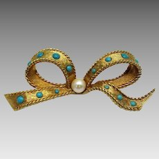 Vintage Brushed Goldtone Bow Pin With Faux Turquoise and Cultured Pearl Accents