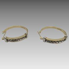10 Karat  Yellow Gold Diamond Hoops