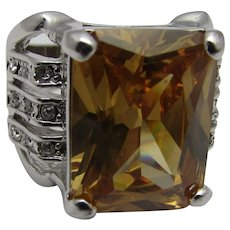 Vintage Costume Ring With a Faux Topaz Center Stone